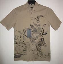 NWT DSQUARED2 Casual Shirt Short Sleeve Safari Khaki Cotton Blnd Sz 44 $495