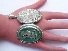 SUPERB ANTIQUE LARGE REPOUSSE SILVER VICTORIAN MOURNING PHOTO LOCKET PENDANT
