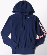 SIZE LARGE - ADIDAS CLIMALITE ESSENTIAL LINEAR OVER HEAD HOODED TOP - NAVY