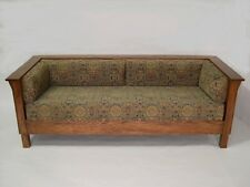 Mission Arts and Crafts Stickley Style Prairie Panel Settle Sofa Couch