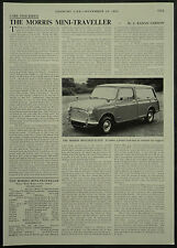 Morris Mini Traveller Specification Review Road Test 1960 1 Page Photo Article