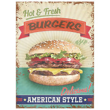 Hot And Fresh American Style Burgers metal sign 410mm x 300mm  (rh)
