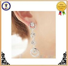 Bridal Multi Circle Silver Plated Dangle Earrings Chic Jewelry Love color