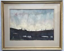 Mid Century Watercolor PAINTING Winter LANDSCAPE Snow Field Dusk GOTHIC Church