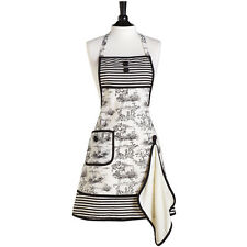 JESSIE STEELE Vintage Style Apron FRENCH TOILE w TOWEL 100% Cotton WHITE BLACK