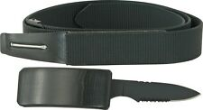 "Miscellaneous M3545 Belt Fixed Knife 3 3/8"" Blade Hidden In Buckle Black 44"""
