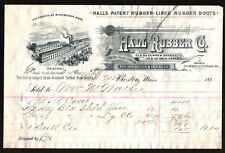 Hall Rubber Co Boots Watertown and Boston MA 1888 Vintage Letterhead Rare