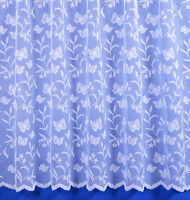 MEADOW BUTTERFLY SCALLOPED NET CURTAIN IN WHITE - SLOT TOP - SOLD BY THE METRE