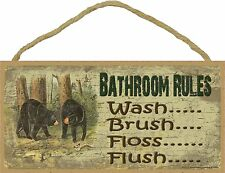 "Black Bear Bathroom Rules Brush Wash Flush Floss Bath Cabin  Sign Plaque 5""x10"""
