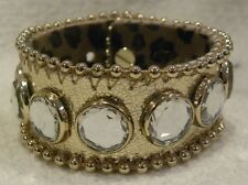 BETSEY JOHNSON BRACELET THROWBACK TO VINTAGE, GOLD & CRYSTAL BUTTON BRACELET NWT