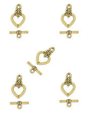 10 Antiqued Gold Pewter Heart Toggle Clasp 17x13MM