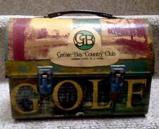 THERMOS LUNCH BOX PURSE-GOLF DECOUPAGE-GREATE BAY COUNTRY CLUB-NEW JERSEY-GREAT!