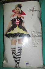 """QUEEN OF HEARTS"" HALLOWEEN COSTUME-DRESS HAT & STOCKINGS - SIZE SMALL 8-10"