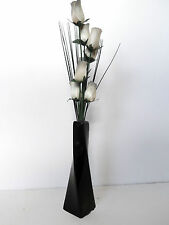8 Wooden Roses With Grass In A Black Ceramic Vase - Quality Instant Flower Gifts