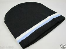 C8:New Imported Unisex Beanie Hat/Bonet-Black with Blue & White Trim