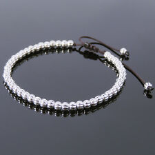 Men's Bracelet Small 3.5x4mm S925 Sterling Silver Beads Braided Adjustable 696M