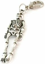 SILVER HALLOWEEN SKELETON CLIP ON CHARM FOR BRACELETS - TIBETIAN SILVER - NEW