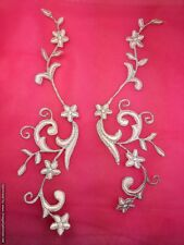 """GB90 Embroidered Appliques Pink Silver Flower Mirror Pair Vine Iron On 9"""""""
