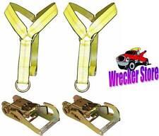 SET OF (2) WHEEL LIFT STRAPS & (2) RATCHETS VULCAN WRECKER, AUTO LOADER LIFT
