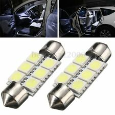 2x Bombillas 6 LED 5050 SMD C5W Festoon 36mm Matricula interior lectura Blanco