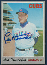 Signed 1970 Topps #291 LEO DUROCHER (dec 1991) Chicago Cubs BEAUTY!!