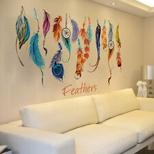 Colorful Lucky Feathers Wall Sticker Mural Art Removable Vinyl Decal Home Decor