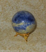 Sodalite Sphere and Silver tone Stand NEW 6.0oz 50mm Stone of Logic & Truth