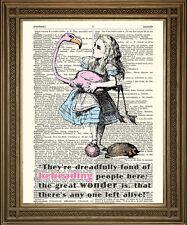 """ALICE IN WONDERLAND & FLAMINGO, QUEEN OF HEARTS COURT: Tenniel Art Print 10x8"""""""