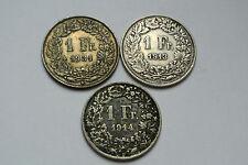 SUISSE 1 FRANC ARGENT 1913/1914/1921