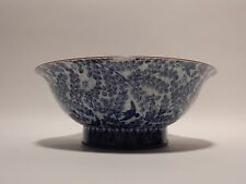 Blue and White Hand painted  Signed Kutani bowl  8 1/2  inches