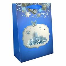 3 x Small Luxurious Christmas Gift Bag -Blue- Decorative with Glitter Paper Bag
