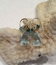 14k solid yellow gold Apatite And Blue Topaz Briolette earrings