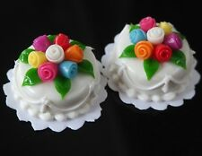 Dollhouse Miniature 2 Round Wedding White Cream Cakes Roes Top Food Supply Deco