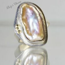 Betsy Bensen Pink Mother Of Pearl Sterling Silver 14K Gold Ring Size 8 OOAK Etsy