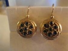 ANTIQUE Russian SILVER Round EARRINGS Blue Glass 925