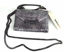 DIESEL Leder Damen Geldbörse Portemonnaie Geldbeutel mit Kette Silber Clutch
