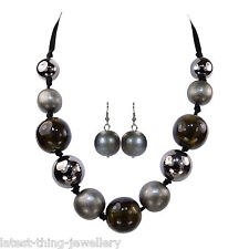 Black Grey Necklace Earring Set Glass Mix Bead Chunky Statement Design