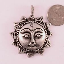 Huge Thick Tibetan Sunflower Delicately Carved Divine Apollo Amulet Pendant