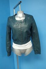 03669 Forever 21 Dark Teal Blue/Green Faux Leather Women's Coat Jacket Sz S