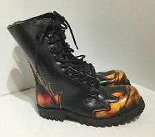 """"""" Underground"""" Girls / Boys calf length boots black with flames size 5  (S 76 )"""