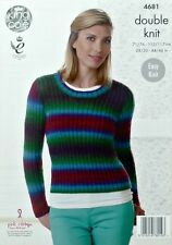 KNITTING PATTERN Ladies Easy Knit Round Neck Ribbed Jumper DK King Cole 4681
