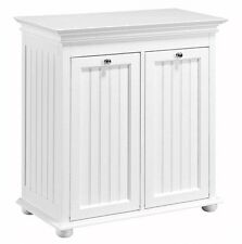 board Hamper Laundry Storage Shelf 2 Compartment White Double Wood Tilt Out Bead