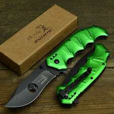 "Elk Ridge 8 1/8"" Ballistic Assisted Open Tactical Toxic Green Folding Knife New!"