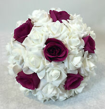 Artificial Silk Flower Dark Pink Roses/White Foam Rose Bridal Wedding Bouquet.