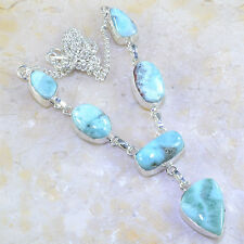 "Handmade Pale Blue Caribbean Larimar 925 Sterling Silver 17"" Necklace #F616"