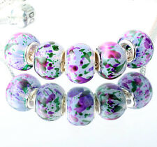 5pcs SILVER MURANO GLASS BEAD LAMPWORK fit European Charm Bracelet DIY ZZ331