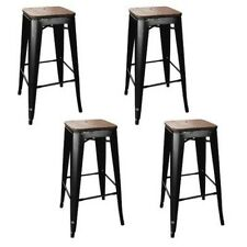 AmeriHome Loft Black Metal Bar Stool w/Wood Seat- 4 Piece BS030BWTSET Bar Stool