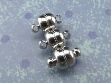 6 Magnetic Clasp Converters - Shiny Drum Style - Silver Color - Jewelry Necklace