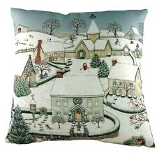"Sally Swannell Snowy Village Christmas Cushion Cover, 17""x17"" approx Made in UK"