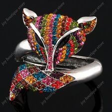 Multicolor Crystal Rhinestone Fox Animal Bracelet Bangle fashion jewelry silver